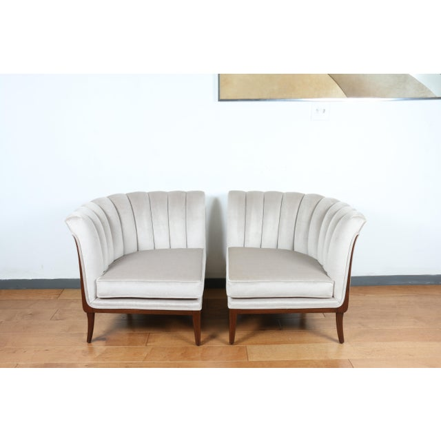 Vintage tufted mohair pair of chairs and also connect and make a love seat. Have been reupholstered and refinished.. Both...