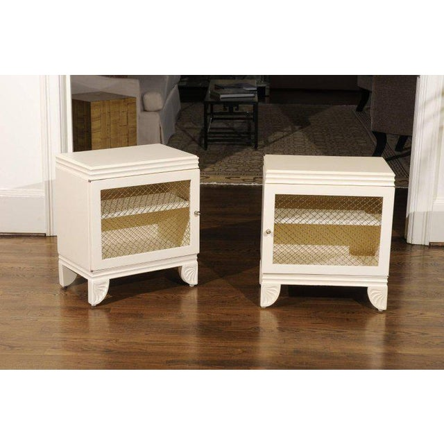 White Gorgeous Restored Pair of End Tables by Widdicomb in Cream Lacquer, Circa 1938 For Sale - Image 8 of 11