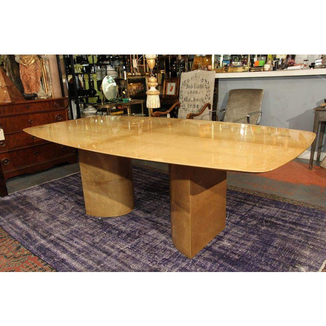 Aldo Tura Lacquered Goatskin Dining Table With Knife-edge Top - Image 2 of 11