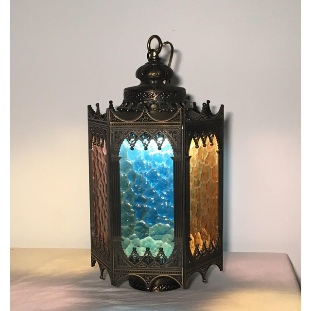 Gothic Brass Swag Lamp with Multi Colored Glass - Image 2 of 6