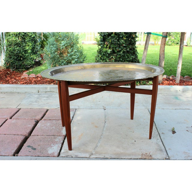 Vintage Mid-Century Modern Brass Tray & Teak Coffee Table For Sale In Los Angeles - Image 6 of 6
