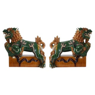 20th Century Asian Sancai Glazed Foo Dogs on Pedestals - a Pair For Sale