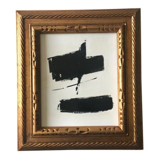 Black and White Sumi Ink and Oil Abstract For Sale