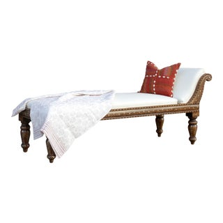Anglo Indian Bone Inlay Upholstered Chaise Lounge For Sale