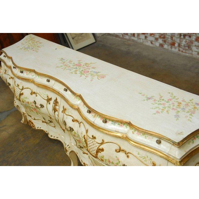 Monumental Venetian Painted and Parcel Gilt Bombe Chest - Image 10 of 10