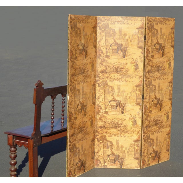 Vintage French Country Yellow 3 Panel Folding Screen - Image 3 of 11