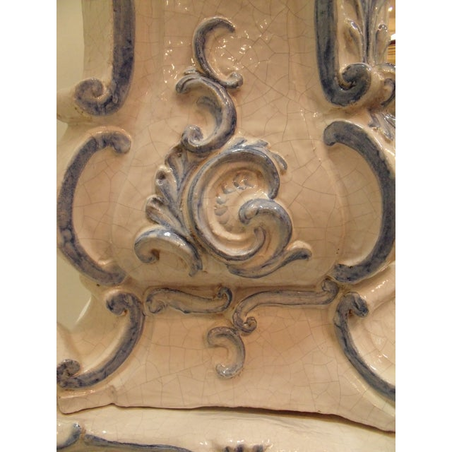 Bronze Italian Ceramic Delft Terracotta Parlor Stove For Sale - Image 7 of 13