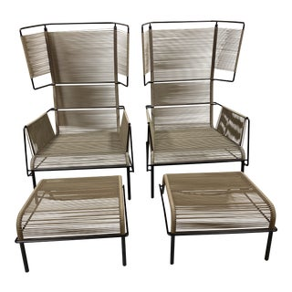 """Mid-Century Modern Dogg & Arnved Studio for Ligne Roset """"Fifty"""" Outdoor Armchairs and Ottomans - 4 Pieces For Sale"""