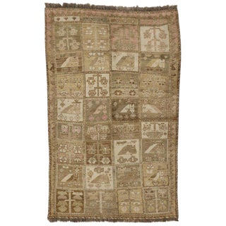 Vintage Mid-Century Persian Shiraz Accent Rug - 4′5″ × 7′ For Sale