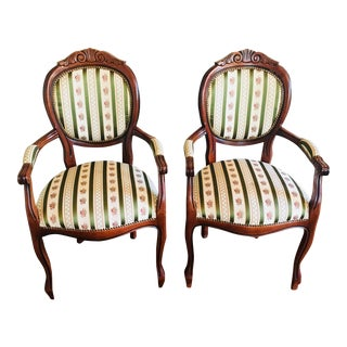 Traditional Balloon Accent Chairs - a Pair For Sale