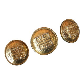 Givenchy France Gilt Metal Brooch & Earrings Ca 1980s For Sale