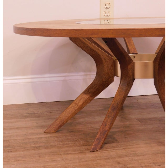 Broyhill Brasilia Mid Century Modern Walnut Cathedral Coffee Table For Sale - Image 11 of 12