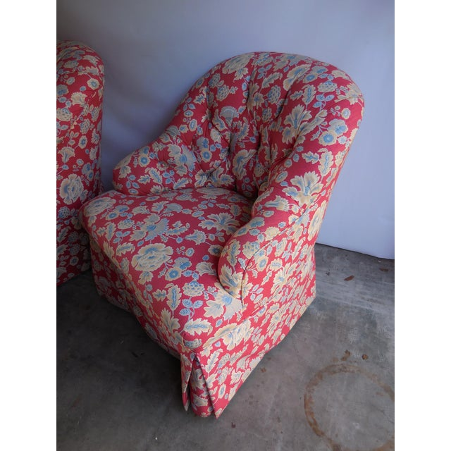 1950s Floral Accent Chairs - A Pair For Sale - Image 4 of 6