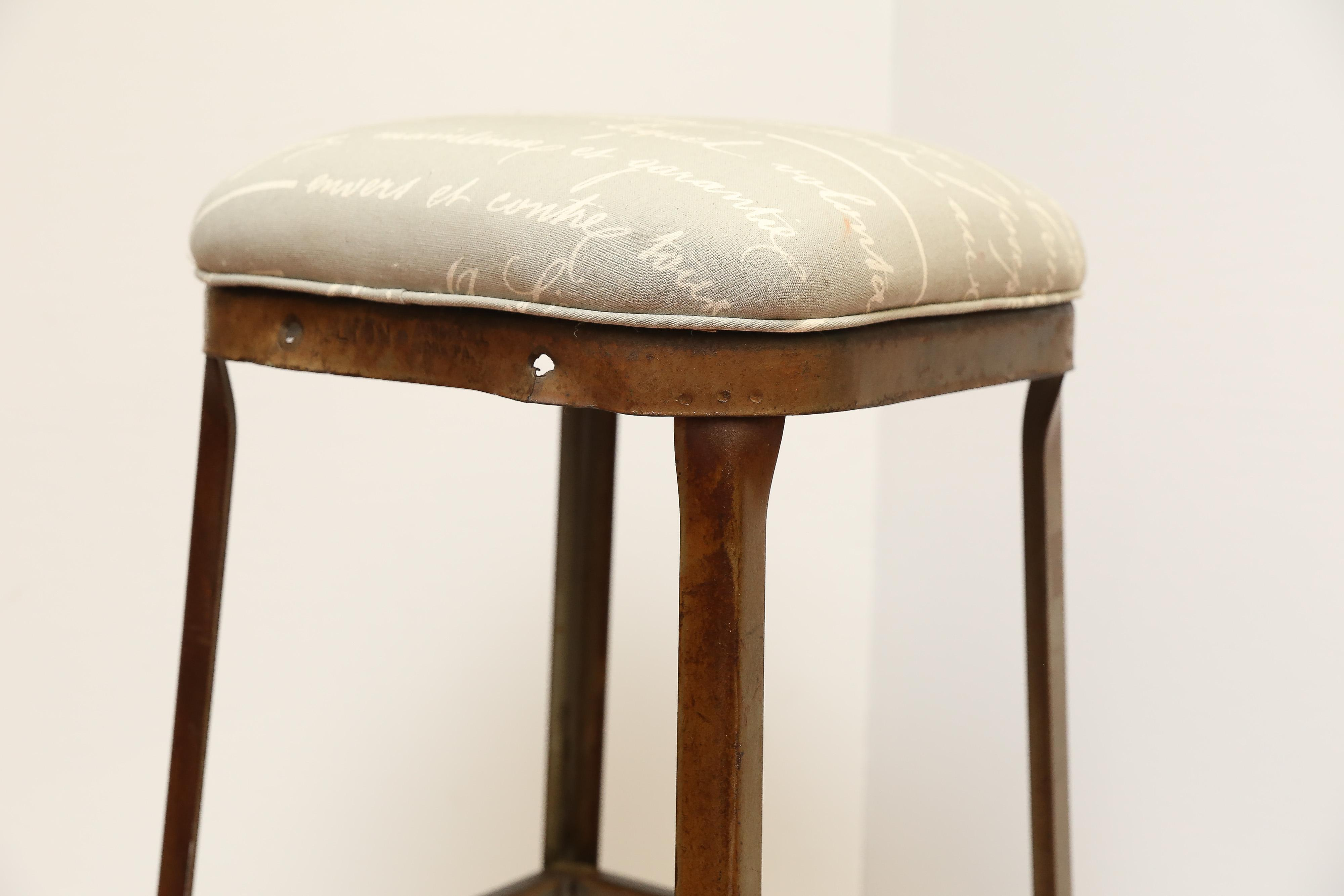 French Upholstered Industrial Stool Chairish
