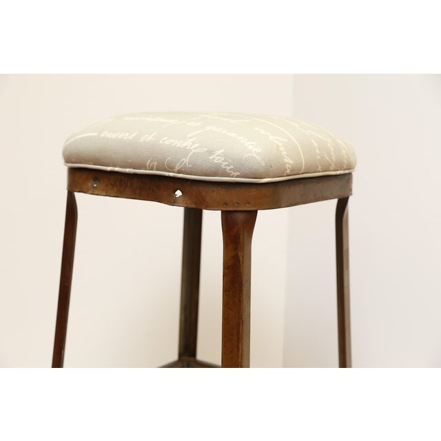 French Upholstered Industrial Stool - Image 4 of 5