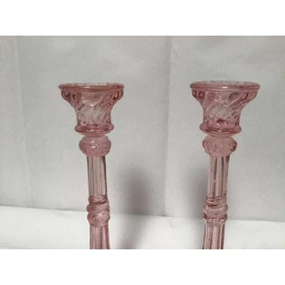 1940s Westmoreland Glass Pink Glass Candlesticks in Pillar Form With Serpent Base - a Pair Preview