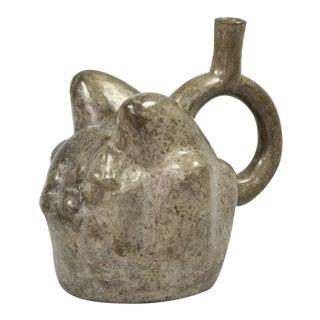 Ancient Peruvian Moche Jaguar on Mountain Blackware Stirrup Vessel, 750-800 c.e. For Sale