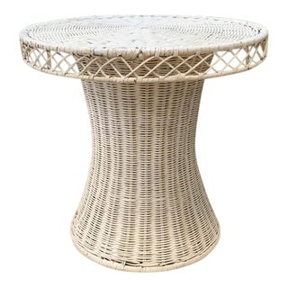 Mid Century Wicker Side Table For Sale