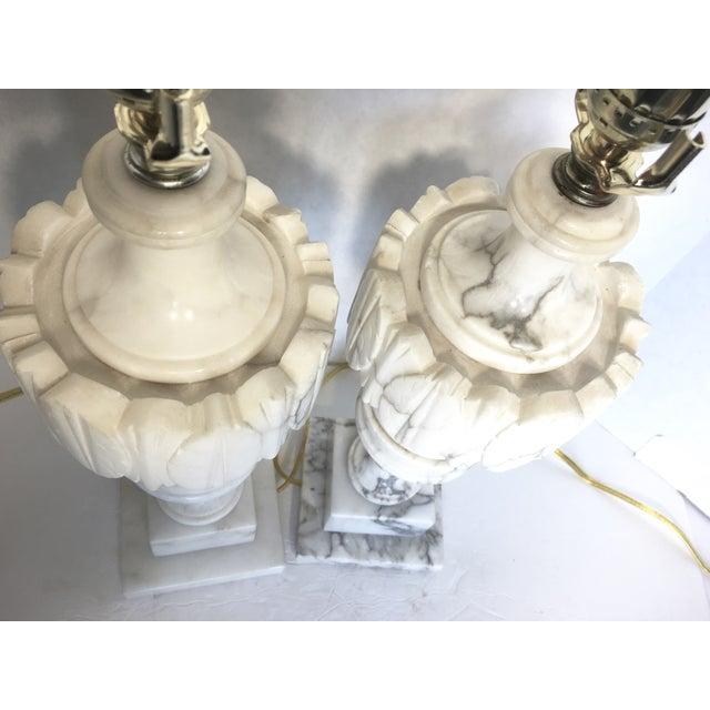 Vintage Alabaster Carved Urn Lamps - A Pair - Image 6 of 6
