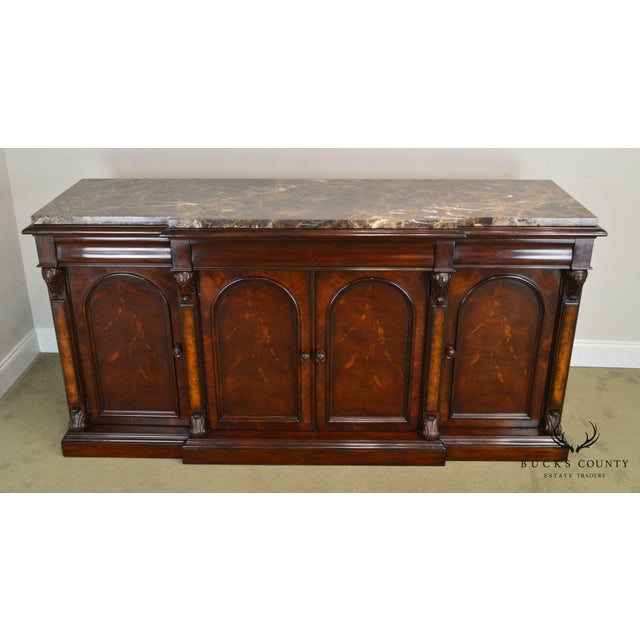 Henredon Mahogany Empire Style Marble Top Sideboard For Sale In Philadelphia - Image 6 of 13