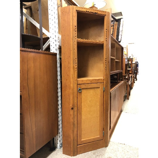 Art Deco Vintage Early 20th Century Arts and Crafts Wood Storage Corner Cupboard Cabinet Organizer Stand With Shelves For Sale - Image 3 of 4