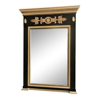 Black and Silver Gilt-Look Trumeau Mirror For Sale