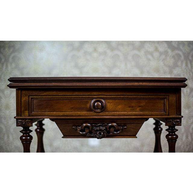 19th Century Walnut Sewing Table or Card Table For Sale - Image 11 of 13
