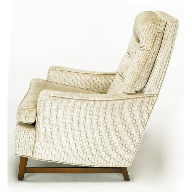 Pair of 1960s High Back Ivory Cut Velvet Lounge Chairs after Harvey Probber - Image 5 of 9