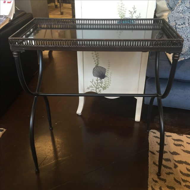 2010s Black Granite Accent Table For Sale - Image 5 of 7