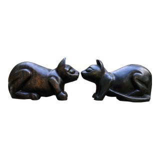 Vintage Arthur Court Hand-Carved Wood Cats- a Pair For Sale