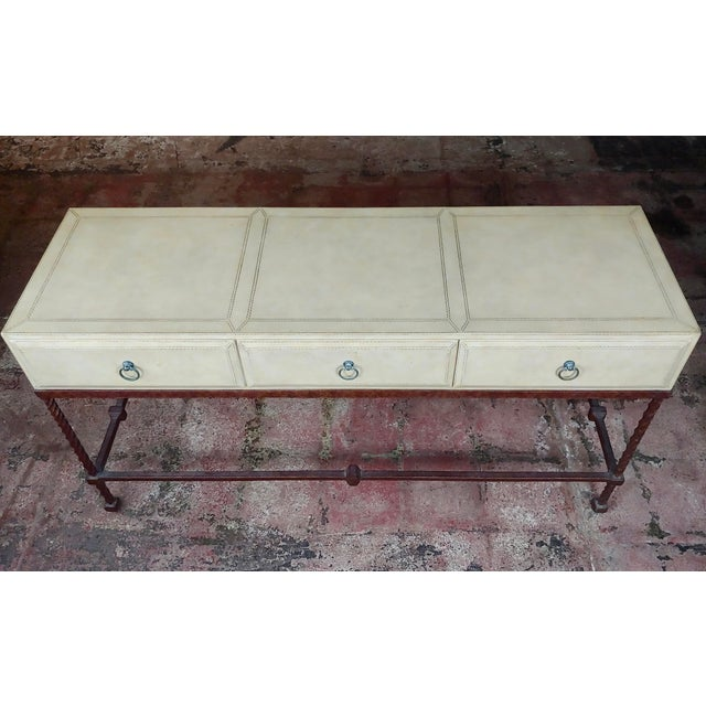 Hollywood Regency Vintage Wrought Iron & Leather Top Sofa Table Console For Sale - Image 3 of 11