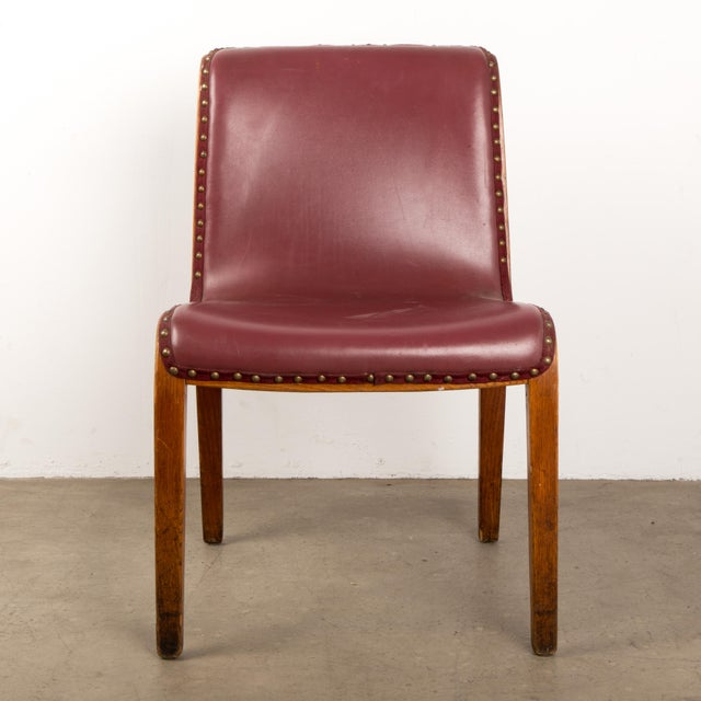 Knoll Bent Wood and red upholstered seat Dining Chair in oak by Bill Stephens.