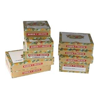 Vintage Romeo Y Julieta Cigar Boxes - 9 Pieces For Sale