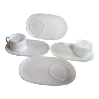 4 + 4 Mid-Century Federal Glass White Oval Milk Glass Snack Tray Plates + Cups For Sale