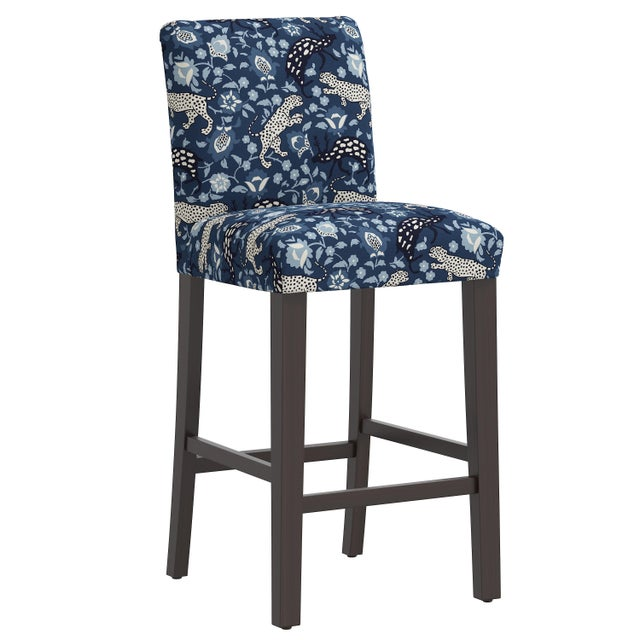 Blue Bar stool in Leopard Blue For Sale - Image 8 of 8