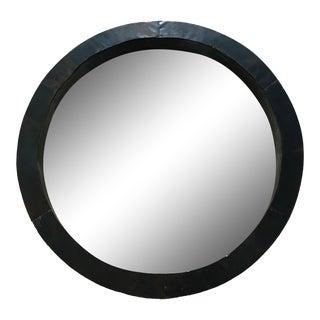 Rustic Black Steel Porthole Mirror