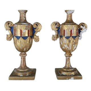 19th Century Italian Painted Wood Urns - A Pair