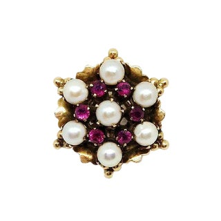 18k Gold Ruby and Pearl Ring For Sale