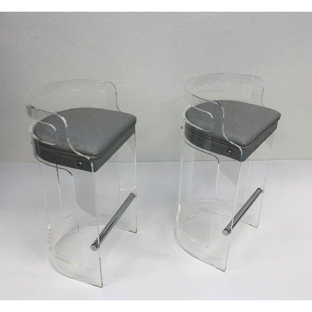 Hill Manufacturing Co. 1980s Hill Manufacturing Co. Lucite and Chrome Barstools - a Pair For Sale - Image 4 of 10