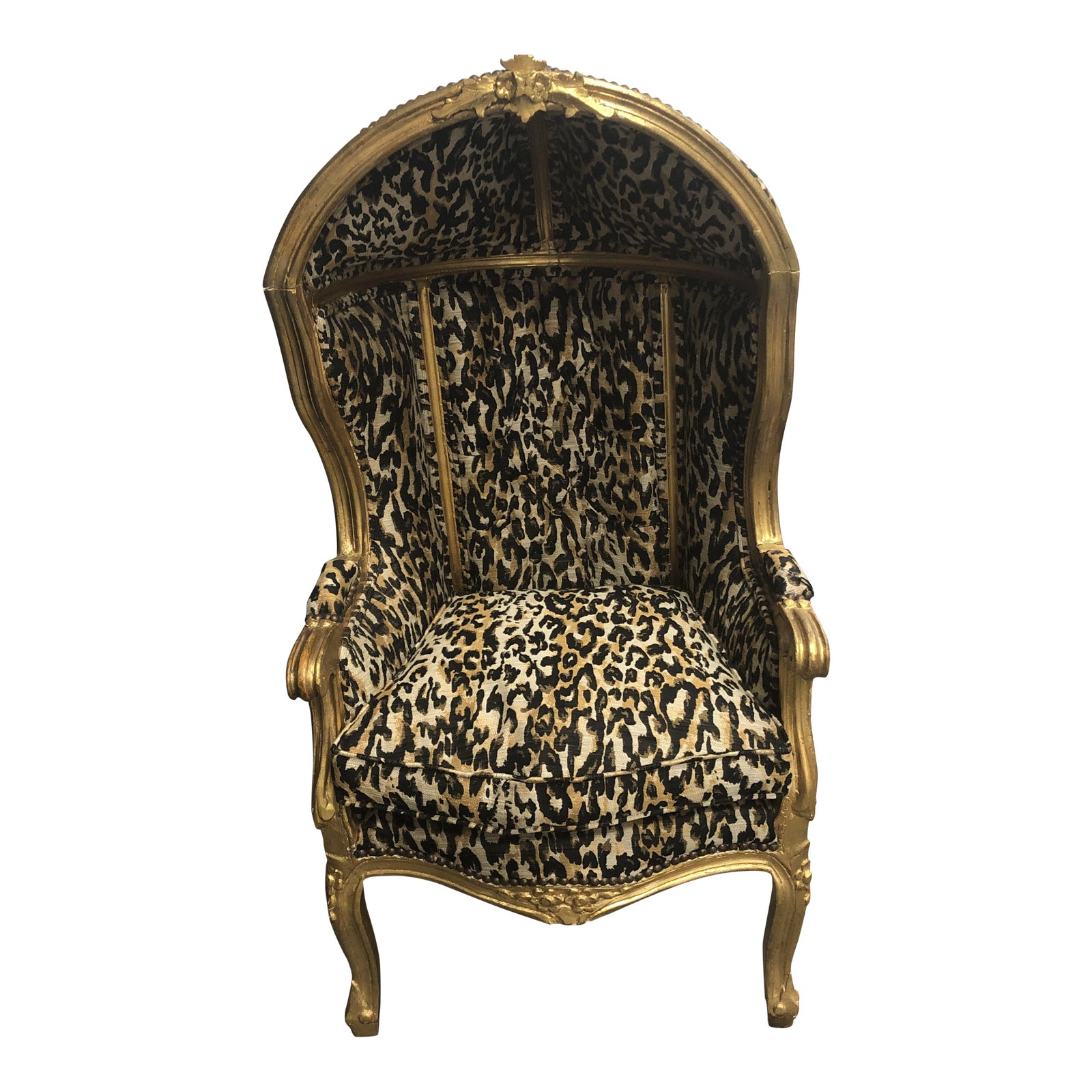 LOUIS XV ARM CHAIR FRENCH STYLE CHAIR VINTAGE FURNITURE LEOPARD AND GOLD WOOD