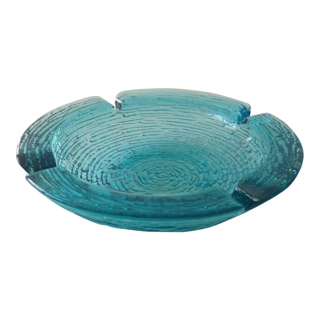 Anchor Hocking Vintage Teal Ashtray For Sale