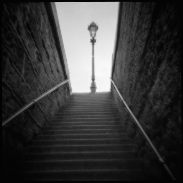 """Ascend"" Black and White, Film Toy Camera Image from the series ""Homeland."" Paris France 10x10 image printed on 11x14..."