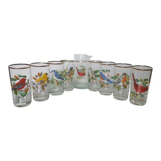 Songbird Glassware Set Pitcher and Eight Tumblers For Sale