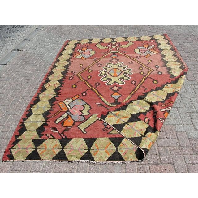 Vintage Turkish Kilim Rug - 7′1″ × 10′11″ For Sale - Image 11 of 11