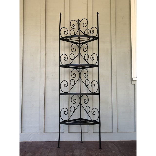 1950s Vintage Wrought Iron Corner Bakers Rack For Sale - Image 5 of 5