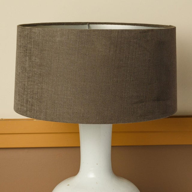 Custom White Glazed Table Lamp For Sale In Houston - Image 6 of 8