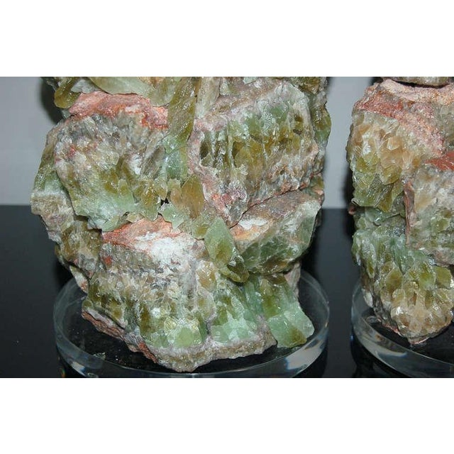 Pink Green Calcite Rock Table Lamps by Swank Lighting - a Pair For Sale - Image 8 of 10
