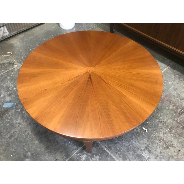 Modern Cherry Wood Round Coffee Table by Baker For Sale - Image 3 of 10