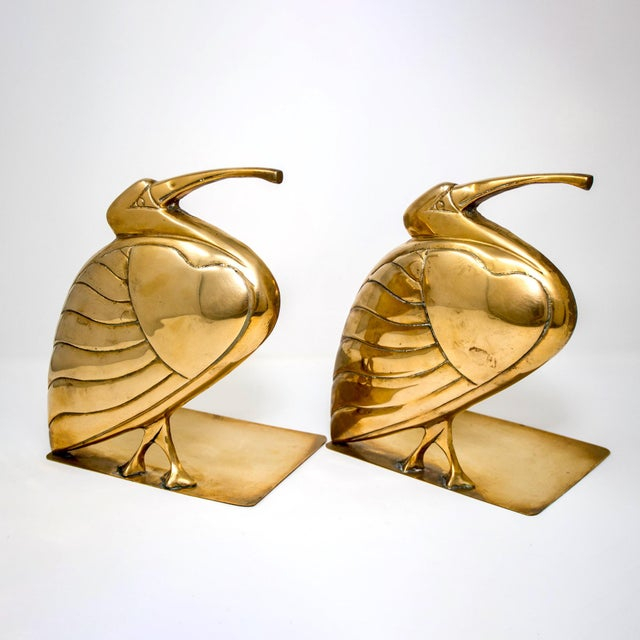 Mid Century Pair Brass Heron or Egret Bookends For Sale - Image 11 of 11