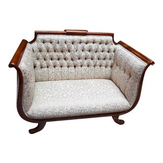 Antique American Empire Style Tufted High Back Deep Seated Settee For Sale